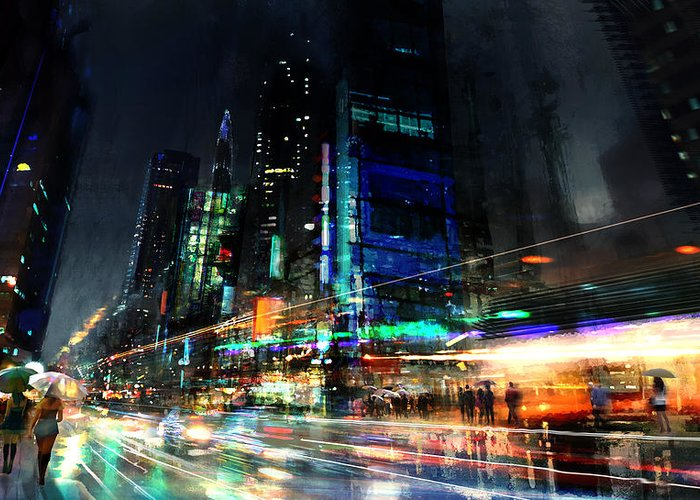 City Greeting Card featuring the digital art In Motion by Philip Straub