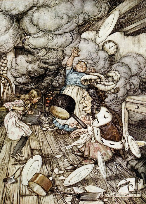 Arthur Rackham Greeting Card featuring the drawing In The Duchesss Kitchen by Arthur Rackham