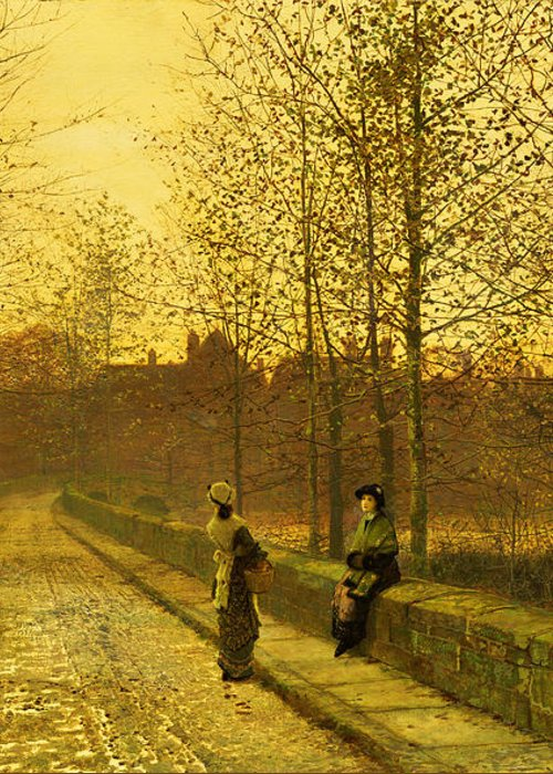 The Greeting Card featuring the painting In The Golden Gloaming by John Atkinson Grimshaw