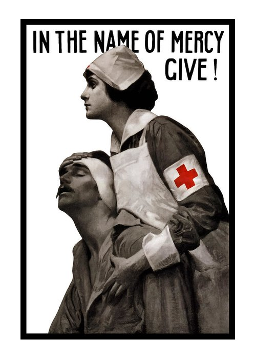 Ww1 Greeting Card featuring the painting In The Name Of Mercy Give by War Is Hell Store