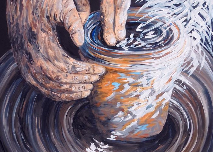 Christian Greeting Card featuring the painting In The Potter's Hands by Eloise Schneider