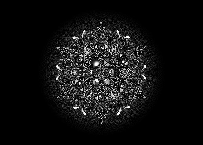Mandala Greeting Card featuring the drawing Inclusion by Matthew Ridgway
