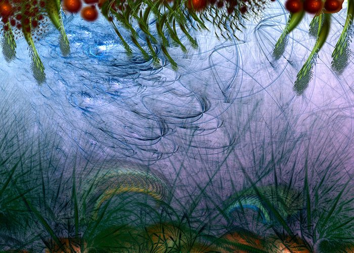 Abstract Greeting Card featuring the digital art Incursion Into The Inversion by Casey Kotas