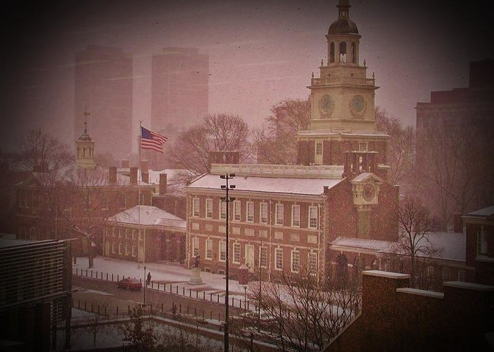 Philadelphia Greeting Card featuring the photograph Independence Hall In The Snow by Bill Cannon