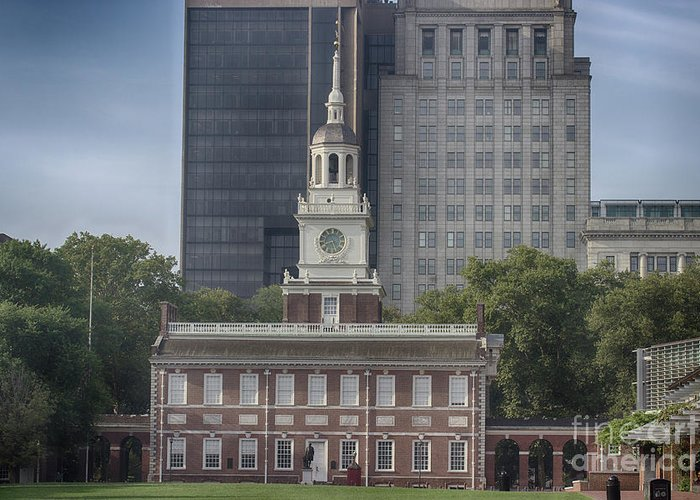 Historical Greeting Card featuring the photograph Independence Hall by Tom Gari Gallery-Three-Photography