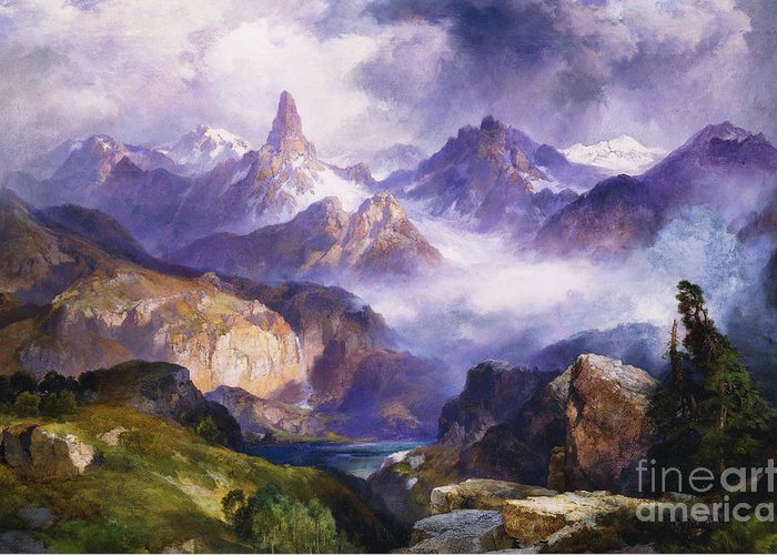 American Artist; American Painting; Cloud; Cloudy; Day; Drama; Dramatic; Ecosystem; Forest; Hudson River School; Idyllic;isolation; Lake; Meteorology; Mountains; Mountain Range; Mountaintop; National Park; Nature; Natural Phenomena;oil Painting; Outdoors; Picturesque; Positive Concepts; Remote; Rock; Romantic Art; Romantic Era; Romanticism; Scene; Scenery; Scenic; Secluded; Seclusion; Sky; Snow Capped; Snow-capped; Water; Weather; Wood; Woodland; Wyoming; Yellowstone National Park Greeting Card featuring the painting Index Peak Yellowstone National Park by Thomas Moran
