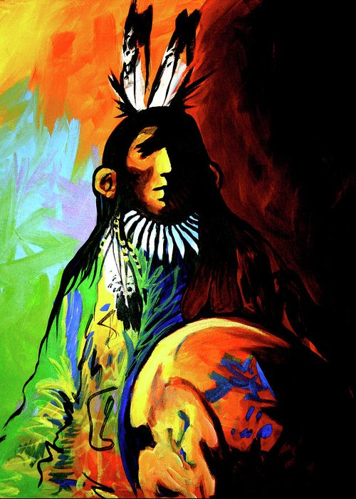 Native American Greeting Card featuring the painting Indian Shadows by Lance Headlee
