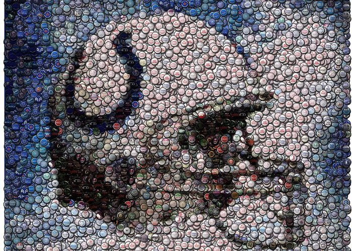 Indy Greeting Card featuring the digital art Indianapolis Colts Bottle Cap Mosaic by Paul Van Scott