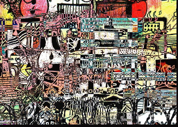 Industrial Art Greeting Card featuring the drawing Industrial Complex 2 by Andy Mercer
