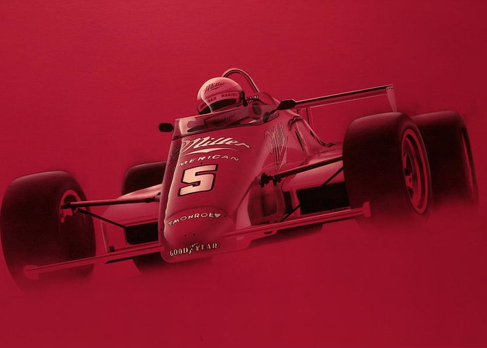 Indy Car Greeting Card featuring the painting Indy Racing by Jeff Mueller