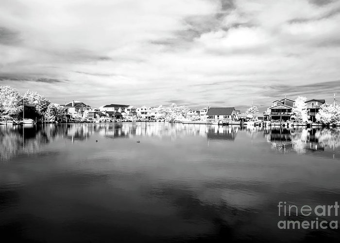 Infrared Beach Houses On The Water Greeting Card featuring the photograph Infrared Beach Houses On The Water by John Rizzuto