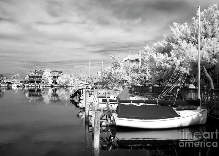 Infrared Boats At Lbi Greeting Card featuring the photograph Infrared Boats At Lbi Bw by John Rizzuto