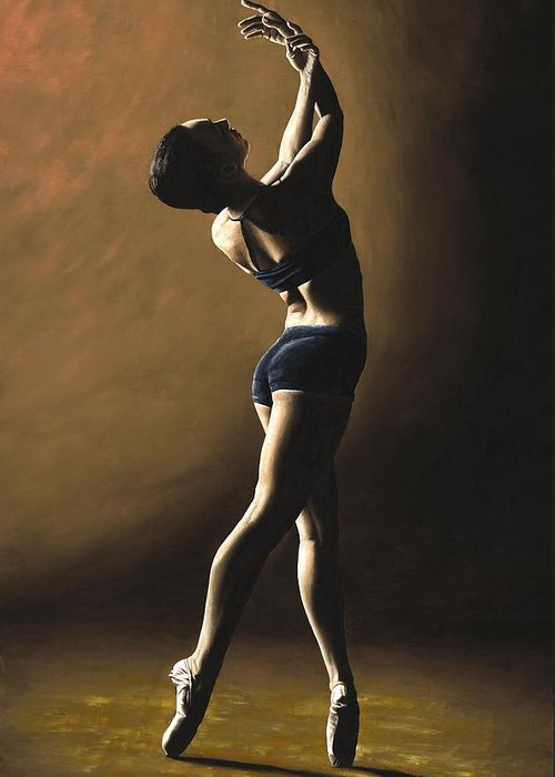 Dance Dancer Dancing Modern Female Woman Lady Girl Pointe Shadow Light Beauty Beautiful Young Art Greeting Card featuring the painting Inner Sanctuary by Richard Young