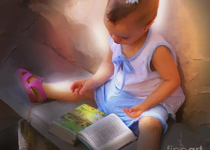 Portrait Greeting Card featuring the painting Innocence And The Bible - Cuba by Bob Salo