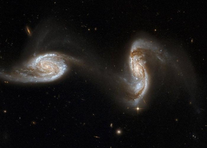 Ngc 5257 Greeting Card featuring the photograph Interacting Galaxies Ngc 5257 And 5258 by Stsciaurahubble Collaborationa. Evans (university Of Virginia, Charlottesville;nrao;stony Brook University)nasa