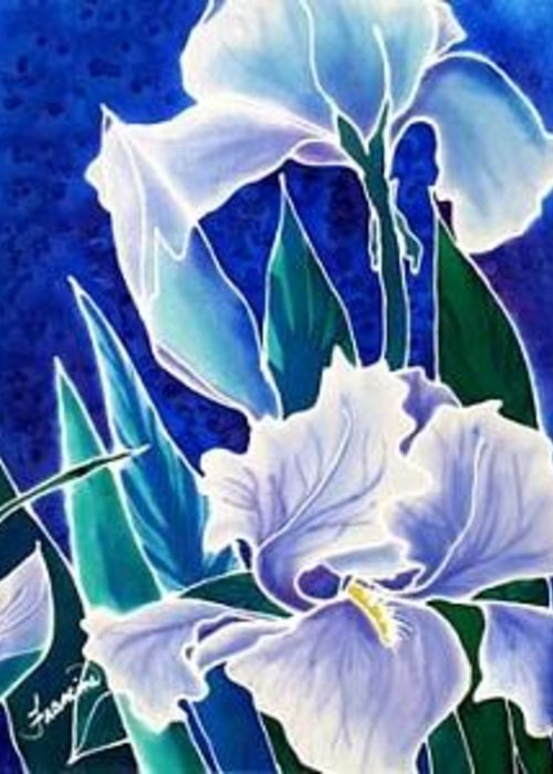 Iris Greeting Card featuring the painting Iris by Francine Dufour Jones