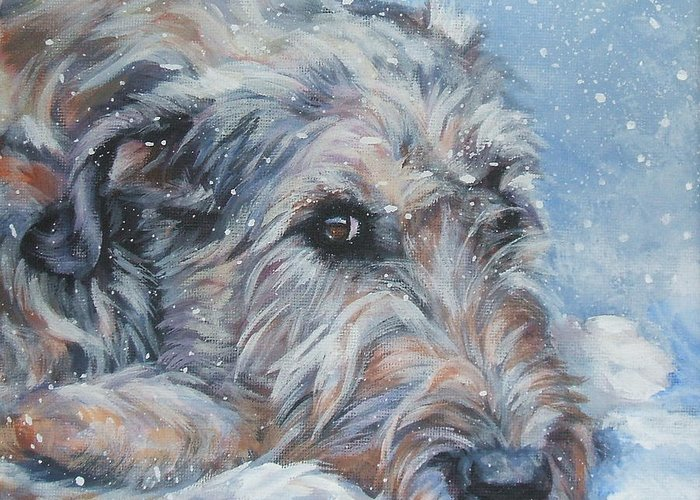 Irish Wolfhound Greeting Card featuring the painting Irish Wolfhound Resting by Lee Ann Shepard