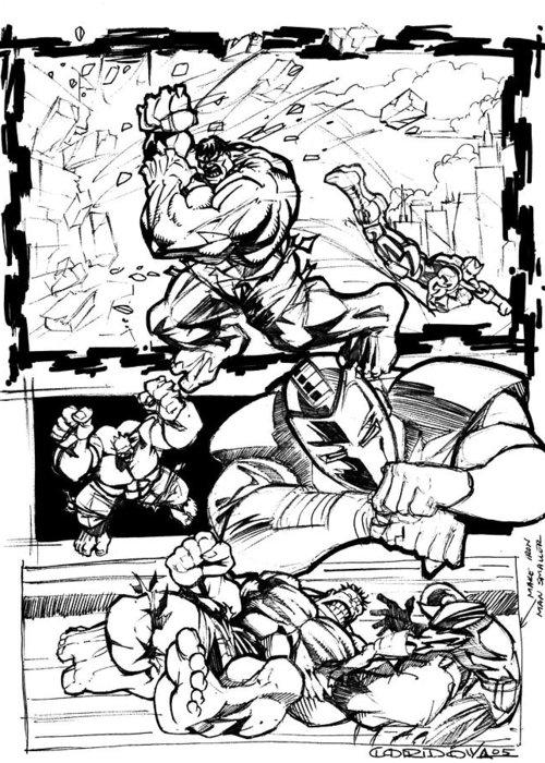 Ironman Greeting Card featuring the drawing Ironman Vs Hulk by Isaac Cordova