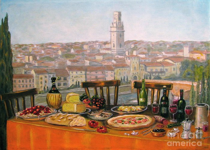 Angelica Dichiara Greeting Card featuring the painting Italian Cityscape-verona Feast by Italian Art