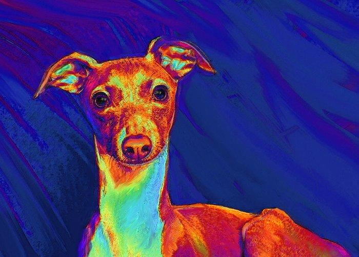 Greyhound Greeting Card featuring the digital art Italian Greyhound by Jane Schnetlage