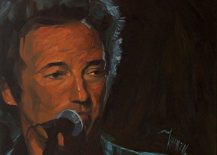 Bruce Springsteen Greeting Card featuring the painting It's Boss Time - Bruce Springsteen Portrait by Khairzul MG