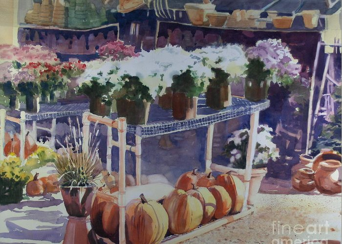 Gardenscape Greeting Card featuring the painting Ivy Corners by Elizabeth Carr