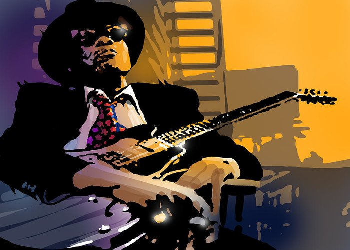 Blues Greeting Card featuring the painting J L Hooker by Paul Sachtleben