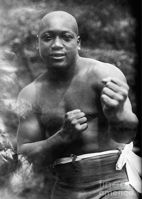 1910s Greeting Card featuring the photograph Jack Johnson (1878-1946) by Granger
