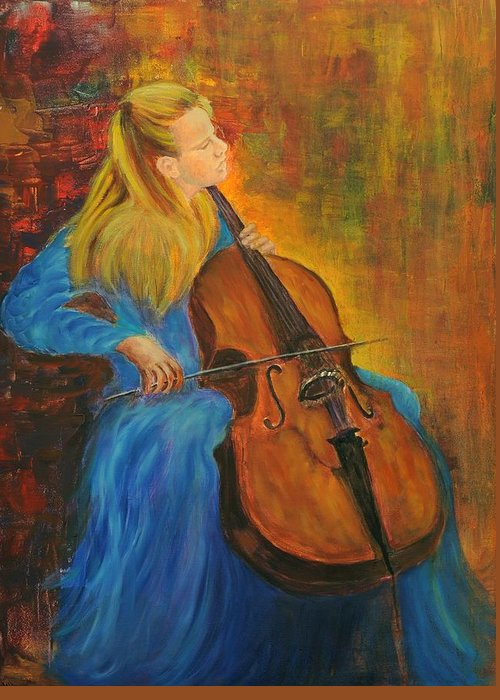 26 January 1945 - 19 October 1987 Greeting Card featuring the painting Jacqueline Du-pre by Rachel Asherovitz