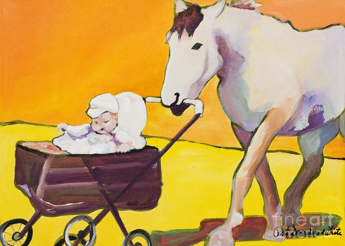 Animal Greeting Card featuring the painting Jake by Pat Saunders-White