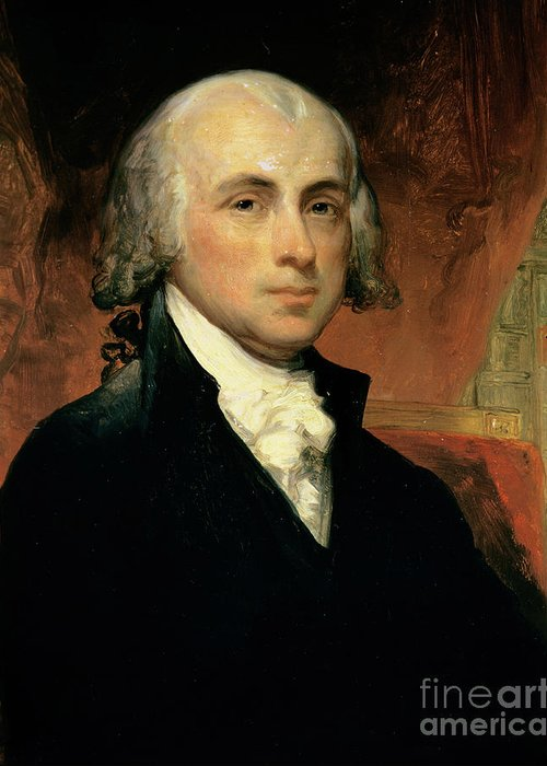 James Madison (oil On Canvas) By American School (19th Century) Greeting Card featuring the painting James Madison by American School