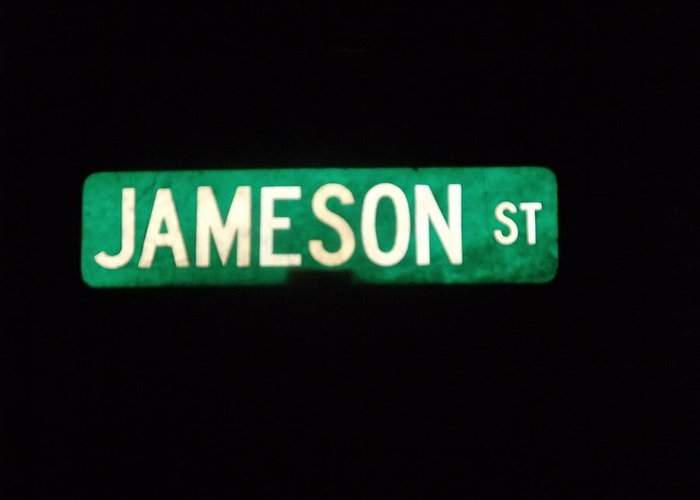 Street Sign Greeting Card featuring the photograph Jameson Street by Anna Villarreal Garbis
