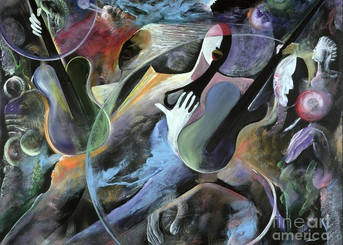 Jazz Greeting Card featuring the painting Jammin by Ikahl Beckford