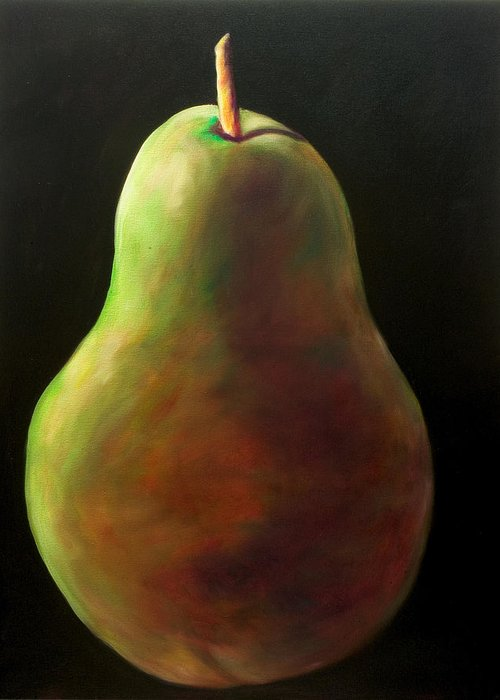 Pear Greeting Card featuring the painting Jan by Shannon Grissom
