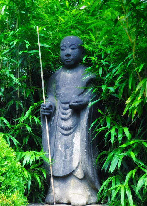 Japanese Greeting Card featuring the photograph Japanese House Monk Statue by Bill Cannon