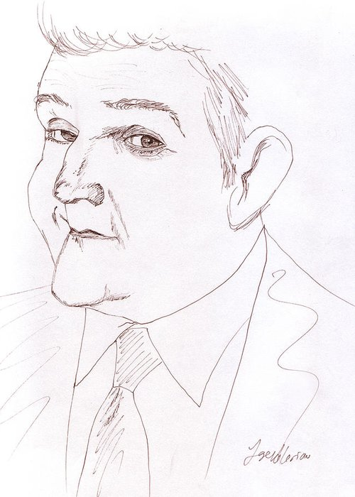 Jay Leno Greeting Card featuring the drawing Jay Leno by Jose Valeriano