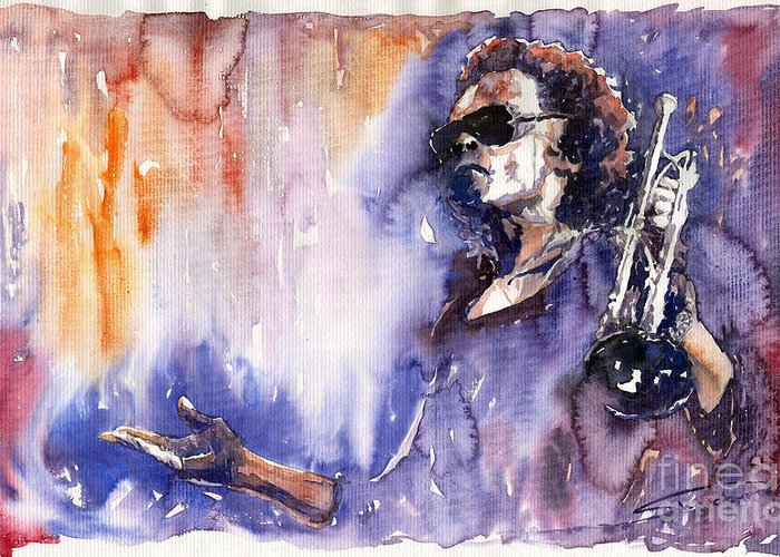 Jazz Greeting Card featuring the painting Jazz Miles Davis 14 by Yuriy Shevchuk