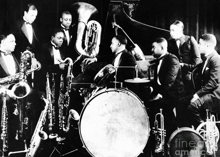 1925 Greeting Card featuring the photograph Jazz Musicians, C1925 by Granger