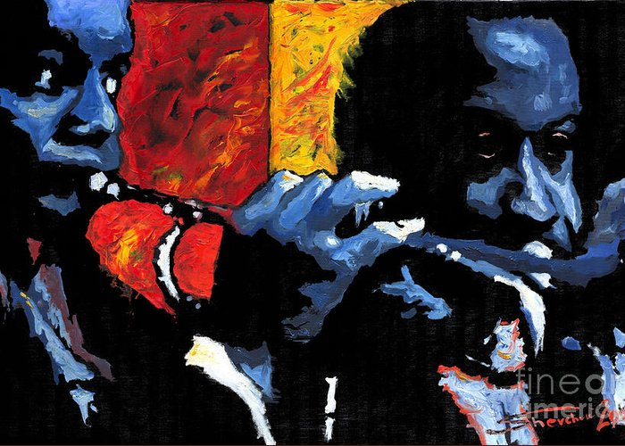 Jazz Greeting Card featuring the painting Jazz Trumpeters by Yuriy Shevchuk