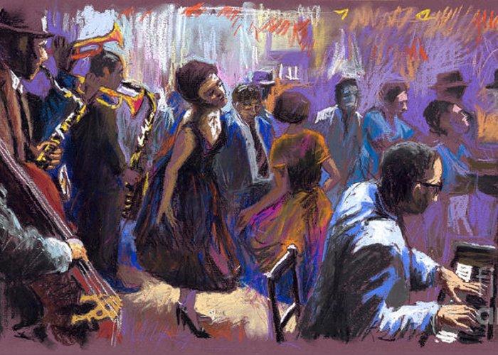 Jazz.pastel Greeting Card featuring the painting Jazz by Yuriy Shevchuk
