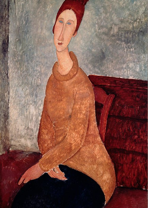 Jeanne Greeting Card featuring the painting Jeanne Hebuterne In A Yellow Jumper by Amedeo Modigliani