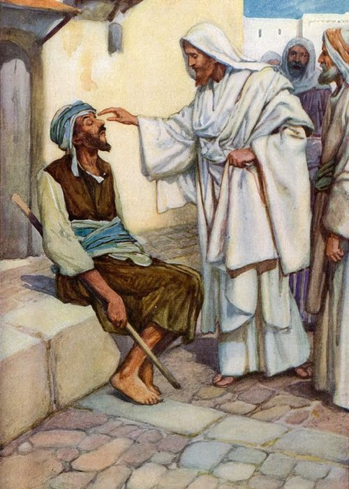 Bible; Biblical; Stories; Jesus; Blind Man Greeting Card featuring the painting Jesus And The Blind Man by Arthur A Dixon