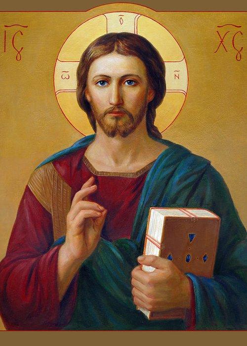 Greeting Card featuring the painting Jesus Christ Pantocrator by Svitozar Nenyuk
