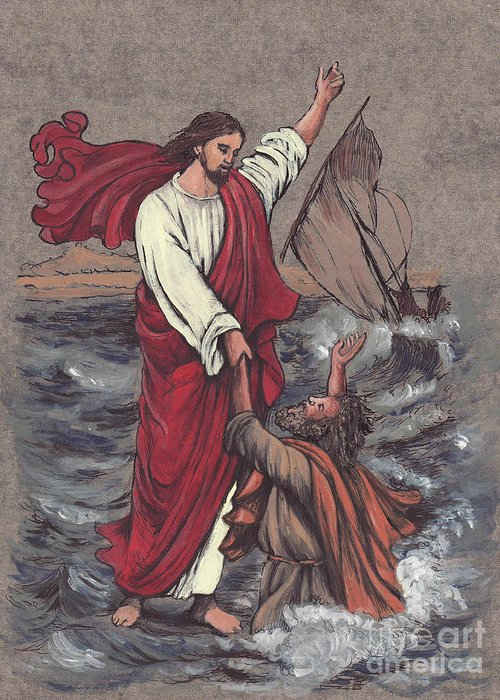 Jesus Greeting Card featuring the painting Jesus Saves Peter by Morgan Fitzsimons