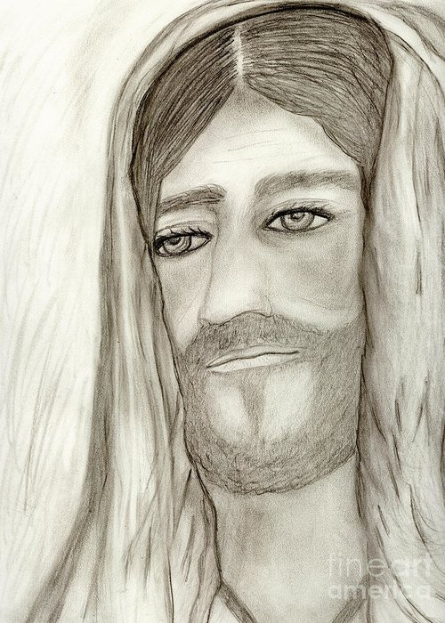Jesus Greeting Card featuring the drawing Jesus by Sonya Chalmers