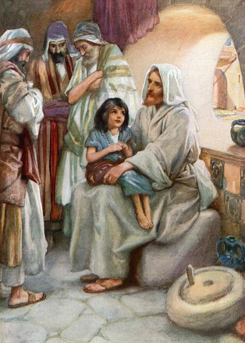 Bible; Biblical; Stories; Jesus; Teaching; People Greeting Card featuring the painting Jesus Teaching The People by Arthur A Dixon