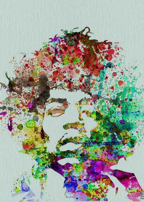 Jimmy Hendrix Greeting Card featuring the painting Jimmy Hendrix Watercolor by Naxart Studio