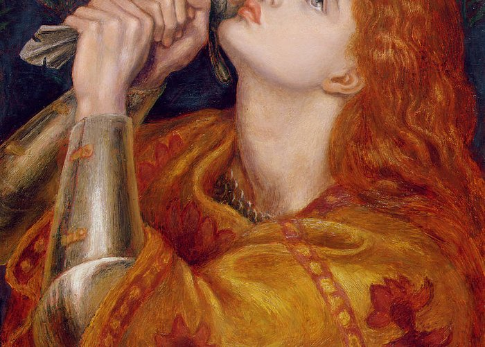 Pre-raphaelite Greeting Card featuring the painting Joan Of Arc by Dante Charles Gabriel Rossetti