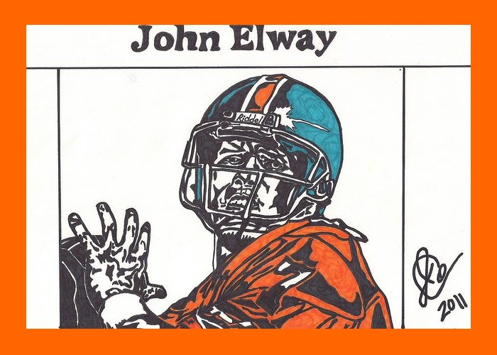 John Elway Drawings Greeting Card featuring the drawing John Elway 2 by Jeremiah Colley