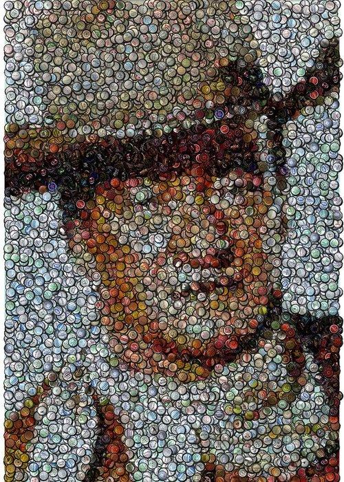Duke Greeting Card featuring the digital art John Wayne Bottle Cap Mosaic by Paul Van Scott